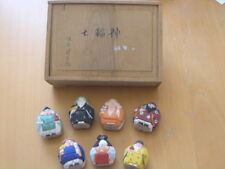 Antique Wooden Japanese Miniature Hand Carved 7 Lucky Gods Figurines Artist Sgd