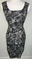 Banana Republic 2 Silk Wool Blend Gray Black Printed Short Sleeve Dress