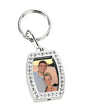PERSONALIZED SILVER RHINESTONE PICTURE FRAME KEYCHAIN NAME CUSTOM ENGRAVED FREE