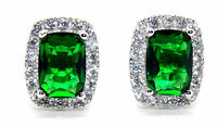Sterling Silver Emerald And Diamond 4.76ct Earring (925)