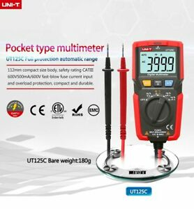 UT125C Mini Pocket Digital v ohm khz diode ncv cap cat3 600v 4000count