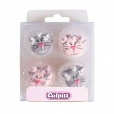 12 Cat Face Sugar Cake Decorations