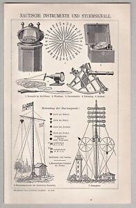 Nautik - Nautische Instrumente und Sturmsignale - Stich, Holzstich 1902