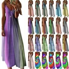 Women Boho Strappy V-Neck Maxi Long Dress Summer Beach Holiday Casual Sundress
