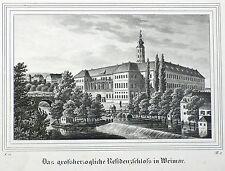 Weimar-ciudad castillo-Saxonia-litografía 1834/1835