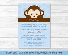 Mod Pop Monkey Blue Printable Baby Shower Invitation Editable PDF