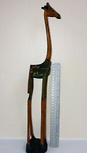 GIRAFFE-HAND CURVED -WOOD SCULPTURE -HAND CRAFTED -SIGNED BY ARTIST