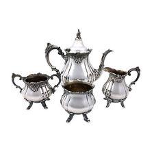 Wallace Silver 'Baroque' 4pc Silverplate Teapot Set + Sugar, Creamer, Waste Bowl
