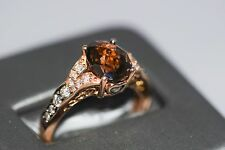 LE VIAN Chocolate Quartz & Diamond Ring 14k Gold Compare $999 SZ 6.5 RETIRED