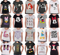 Disney T Shirt Mickey Minnie Mouse Princess new Official Womens Skinny Fit