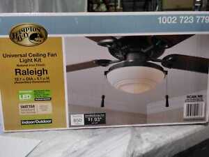 Raleigh LED Natural Iron Universal Ceiling Fan Light Kit by Hampton Bay
