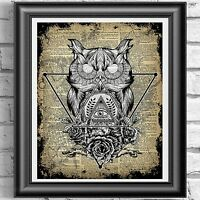 Dictionary Page Art Witchcraft Owl PRINT Vintage ANTIQUE Book Wall art Picture