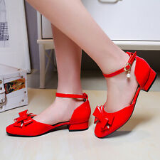 Women Mary Janes Pumps Shoes Bow Tie Ankle Strap Block  Heel Dress Sandals US 6
