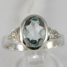 WHITE GOLD RING 750 18K, WITH AQUAMARINE OVAL CARAT 1.6, AND DIAMONDS