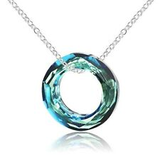 Blue Circle Pendant Gemstone Crystal Sterling Silver 925 Necklace Chain 17 Inch
