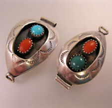 Native American Shadow Box Turquoise & Coral Watch Tips Signed F. White