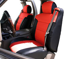 CHEVY SILVERADO 2003-2006 BLACK/RED LEATHER-LIKE CUSTOM FRONT SEAT & 2ARM COVERS