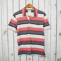 BILLY REID Men's Short Sleeve Polo Shirt Blue Red Striped Size XL Cotton