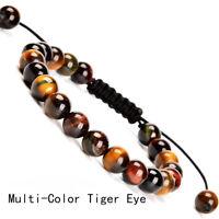 Handmade 8mm natural Multi-Color Tiger Eye gemstone beads adjustable bracelet