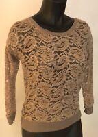 NEW Simply Vera Wang Small Lace Stretch See Thru Top Shirt 3/4 Sleeve Khaki Tan