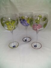 Block Basics Crystal Hand Painted Glass Goblets w/stickers. Grapes. Rare pattern