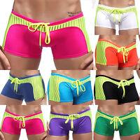 Mens Tight Swimsuit Trunks Summer Mesh Striped Swimwear Boxer Shorts Underwear