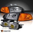 For 92-95 Honda Civic Eg Ej 4dr Black Headlightscorner Lightsyellow Fog Lamps