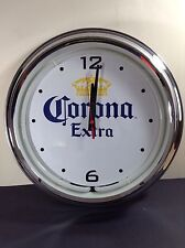 Corona Extra Beer Sign Neon Chrome Clock New!! Mancave
