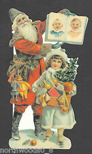 Santa Father Christmas Book Toys Victorian Card Embossed Uk Paper Double