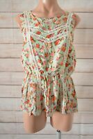 Quirky Circus Tank Top Blouse Size 12 Green Orange Pink Floral Sleeveless