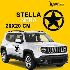 Coppia adesivi stella per porte Jeep Renegade e Wrangler Nera diametro 20 cm