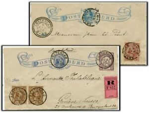 Netherlands Two uprated Lettercards 1894/95 to Switzerland. One registered