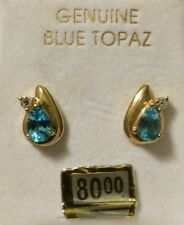 10K GOLD GENUINE BLUE TOPAZ DIAMOND DECEMBER BIRTHSTONE PIERCED EARRINGS SLV