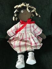 """African American cloth 19"""" primitive doll in pink check dress"""
