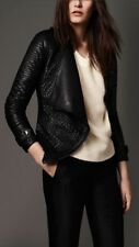Burberry Strip-stitched Black Lamb Leather Jacket Size 2 MSRP $2595 USD