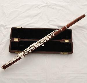 Professional Grendadilla Rose Wooden Flute Silver Keys B Foot Split E In line G