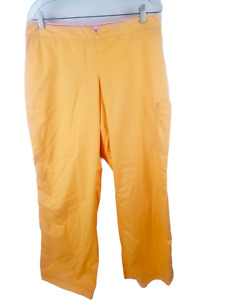 Koi Scrubs Pants Women XL Orange Tangerine Solid w/ Pockets Stretch Waist