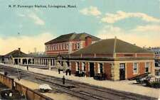 Livingston Montana Passenger Station Railroad Antique Postcard K44157