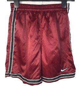 "NIKE Retro Y2K Active Sports Satin Gym Shorts Burgundy Maroon XS 26-28"""