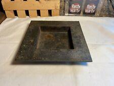 "Antique Primitive Square Cast Iron or Steel 7 3/4"" Ashtray"