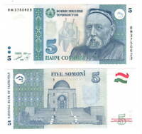 TAJIKISTAN 5 Somoni (1999) P-15c UNC Banknotes Paper Money