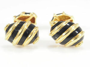 18K Tifffany and Co Cuff Links Black Enamel Yellow Gold Vintage