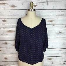 Old Navy Blue Red Key Print 3/4 Sleeve Button Wide Neck Blouse Womens Size Small