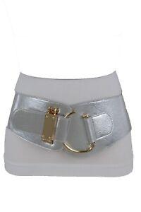 Women Metallic Shiny Silver Color Elastic Belt Gold Hook Buckle Plus L XL XXL