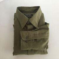 Murano Mens Suede Medium Olive Green Long Sleeve Dress Shirt