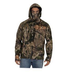 Mossy Oak Camouflage Men's Tech Hoodie Built-in Neck Gaiter Size Medium NWT