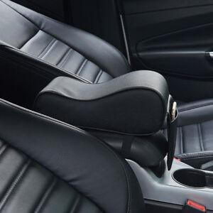 Black Universal Memory Cotton PU Leather Car Armrest Box Mat Console Pad Cushion