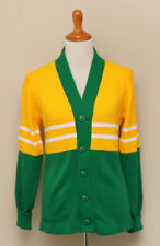 Vintage 1980s Womens Cheerleader Green and Yellow Cardigan