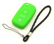Green Silicone Case Cover For Audi A2 A4 A6 A8 Remote Flip Key 3 4 Buttons AD3GR