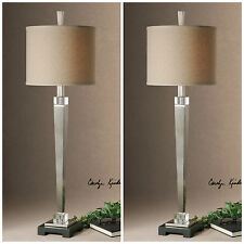 Two New Plated Brushed Nickel Finished Table Lamp Crystal Detail Black Base